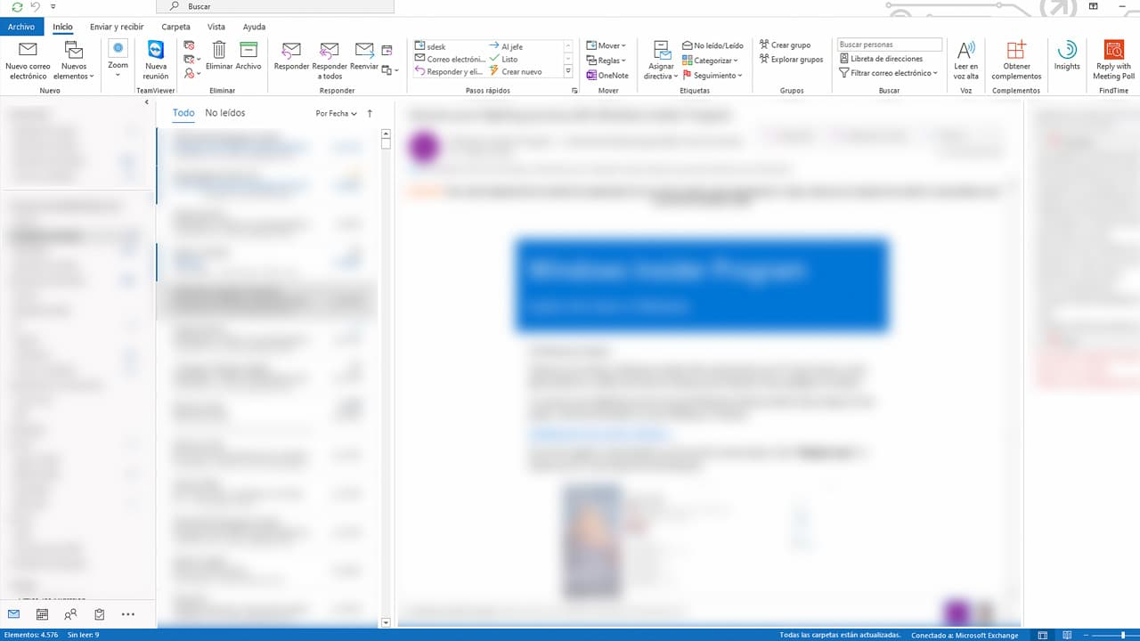 Microsoft Outlook Panel de lectura