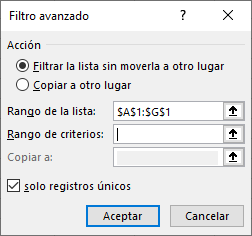 Filtrar valores duplicados, solo registro único en Excel