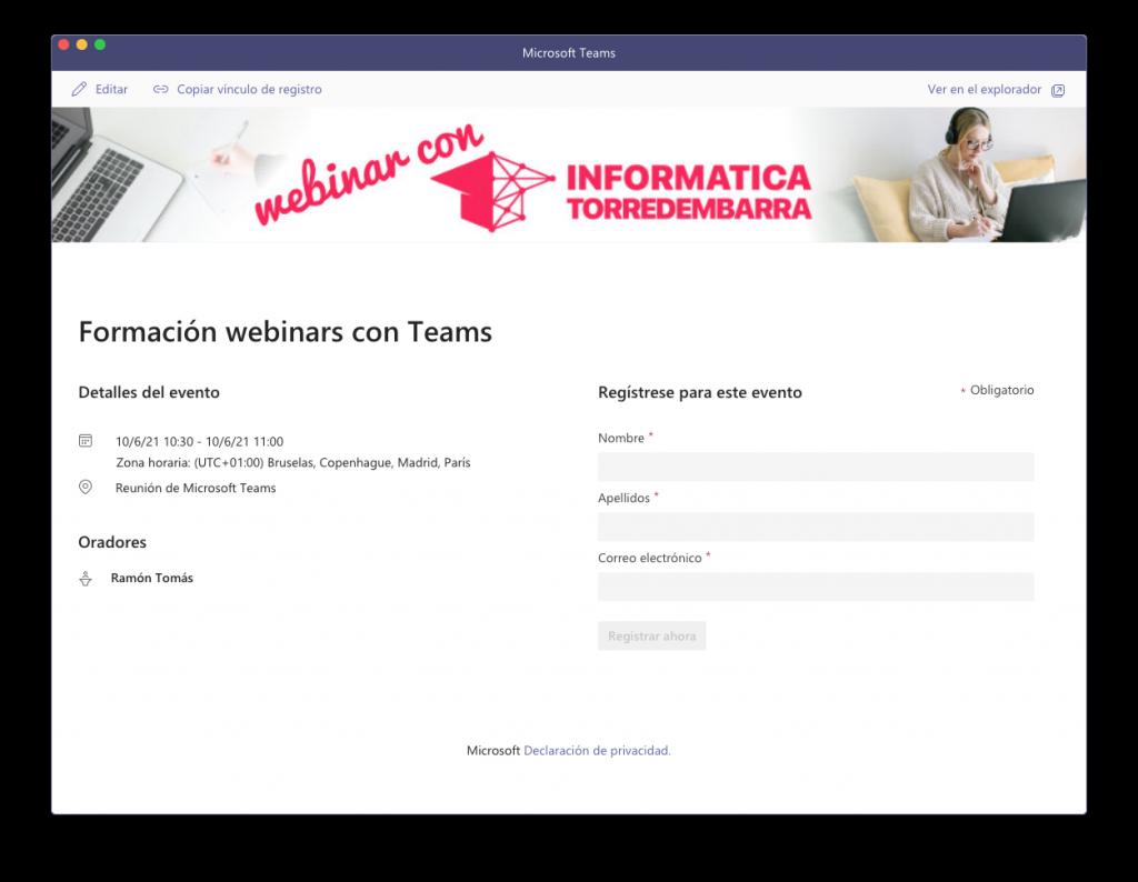 Formulario registro webinar Teams