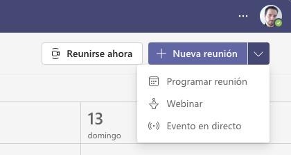 Crear nueva reunion webinar con Teams