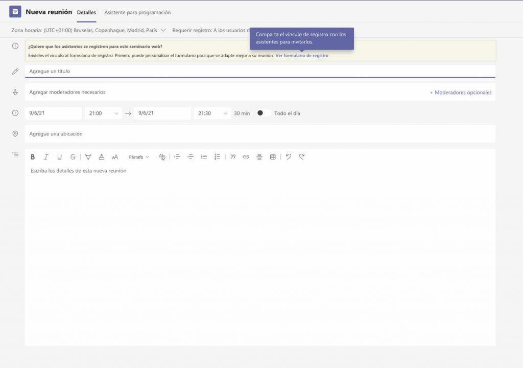 Configurar nuevo webinar Teams